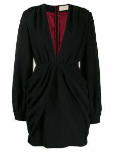 Sara Battaglia draped mini dress - Black