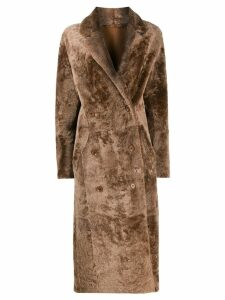 S.W.O.R.D 6.6.44 double breasted shearling coat - Brown