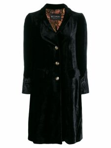 Etro embroidered cuff coat - Black