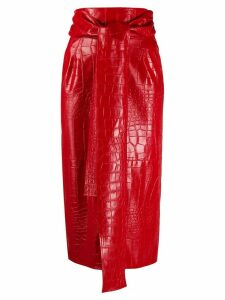 MSGM crocodile embossed fitted skirt - Red