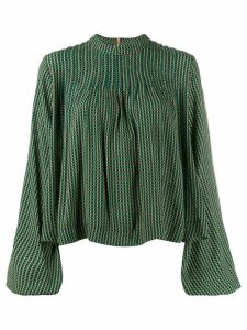 Ganni mock neck plaid blouse - Green