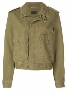 Saint Laurent patch pockets military jacket - Green