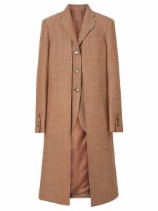Burberry Waistcoat Detail Wool Tailored Coat - Brown