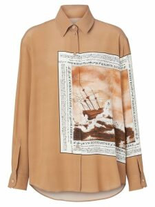Burberry Montage Print Silk Oversized Shirt - Brown