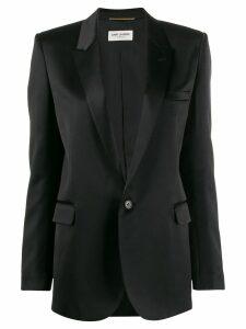 Saint Laurent satin peak lapel blazer - Black