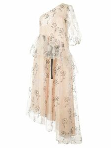 Sandy Liang asymmetric sheer dress - Neutrals