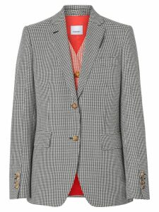 Burberry Waistcoat Detail Houndstooth Check Wool Blazer - Black