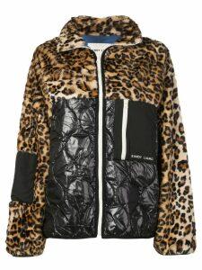 Sandy Liang leopard panel bomber jacket - Brown