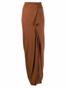 Rick Owens draped wrap skirt - Brown