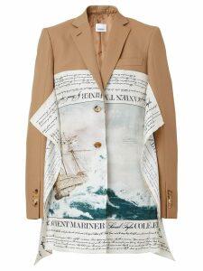 Burberry Mariner Print Scarf Detail Wool Blend Tailored Jacket - Brown