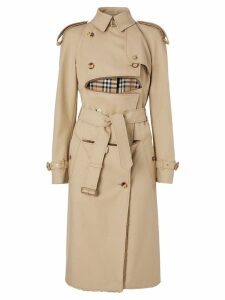 Burberry Deconstructed Shearling Trench Coat - NEUTRALS