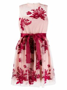 Red Valentino peony embroidered tulle dress - Pink