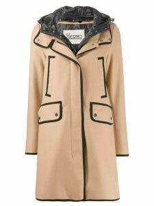 Herno hooded mid-length coat - NEUTRALS