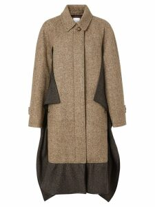 Burberry Scarf Detail Wool Mohair Tweed Car Coat - Brown