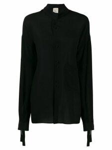 L'Autre Chose silk mandarin shirt - Black