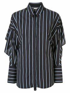 Layeur striped ruffled-sleeve shirt - Blue