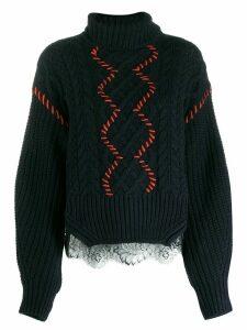 Self-Portrait contrast stitch sweater - Blue