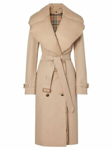 Burberry Detachable Collar Cotton Gabardine Trench Coat - Neutrals