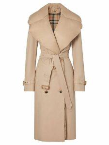 Burberry Detachable Collar Cotton Gabardine Trench Coat - NEUTRALS