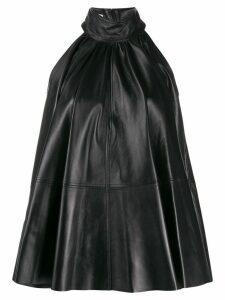 16Arlington panelled leather halterneck dress - Black