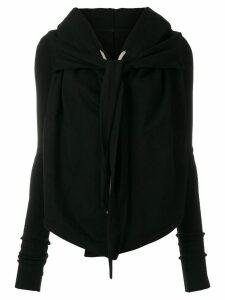 Rick Owens DRKSHDW front knot hooded cardigan - Black