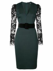 Badgley Mischka lace-sleeve belted midi dress - Green