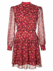 Saloni floral print mini dress - Red