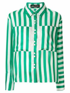 Anna October oversized pockets striped shirt - Green