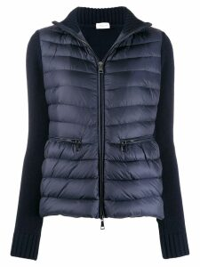 Moncler knitted sleeve padded jacket - Blue