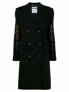 Moschino Mythological Creatures embroidery coat - Black
