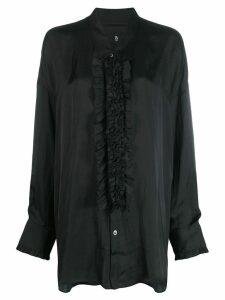 R13 ruffled placket shirt - Black