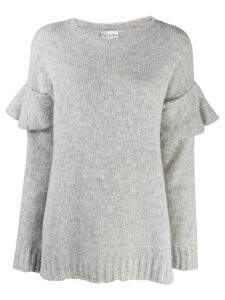 Red Valentino ruffled sleeve knitted sweater - Grey
