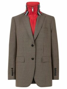 Burberry Track Top Detail Wool Cotton Tailored Jacket - Neutrals