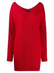 Boutique Moschino intarsia knitted dress - Red