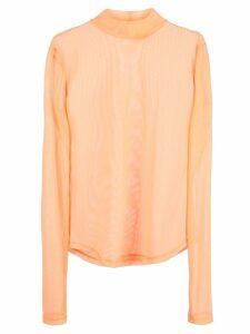 Nomia sheer mock neck top - Orange