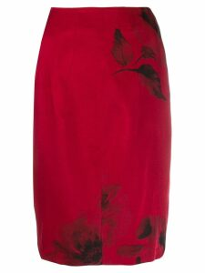 Nº21 floral print pencil skirt - Red