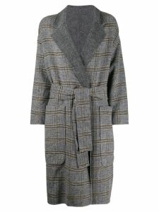 Twin-Set check patterned double-breasted coat - Grey
