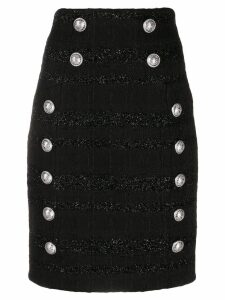 Balmain striped tweed pencil skirt - Black