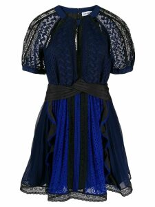 Self-Portrait topstitching pleated mini dress - Blue