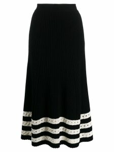 Alexander McQueen holey striped hem skirt - Black