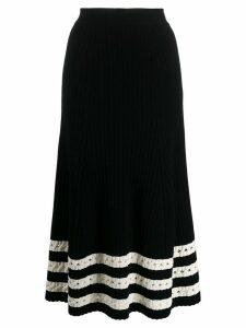 Alexander McQueen holey striped hem skirt - Black