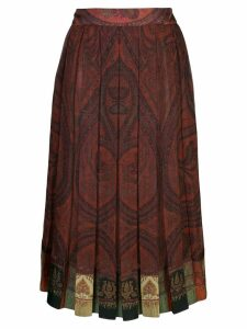 Adam Lippes pleated paisley print skirt - Red