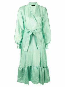 Stine Goya wrap ruffled-hem dress - Green
