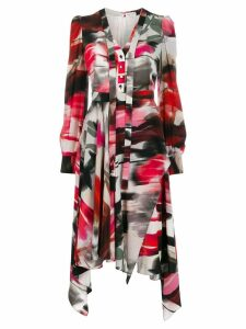 Alexander McQueen abstract print shirt dress - Red