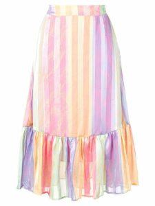 Stine Goya striped ruffled-hem skirt - Pink