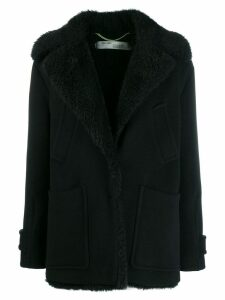 Off-White woman embroidered peacoat - Black