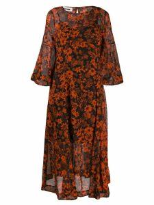 McQ Alexander McQueen floral print midi dress - Red