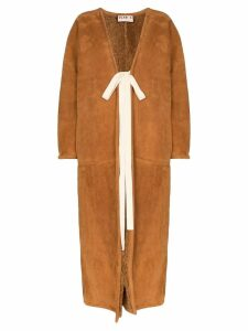 Plan C long shearling-lined coat - Brown
