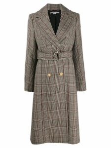 Stella McCartney check print long belted coat - Neutrals