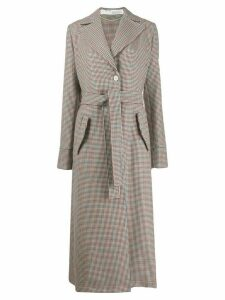 Off-White checked oversized belted coat - NEUTRALS